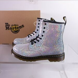 Size 7 Women's / 6Y Youth Dr. Martens 1460 Metallic Lace Up Boots Silver Suede