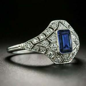 Antique Blue Sapphire & Diamond Engagement Wedding Ring in 10K White Gold Over