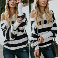 Womens Striped Long Sleeve T-Shirt Casual Blouse Loose Fit Shirt Pullover Tops