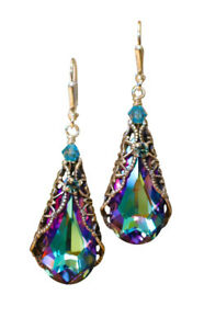 Crystal Dangle Filigree Earrings with Crystal from Swarovski Jewelry Gift Box