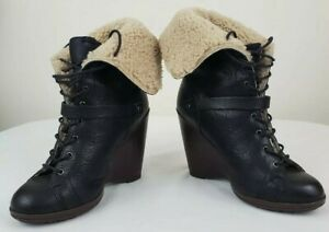UGG Italian Collection Caprera Womens Flint Fur Lace Up Wedge Boot Size 6 M