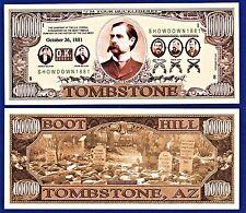 1- OK Corral Wyatt Earp Dollar Bill Novelty -Wild West-Gun  Fake -MONEY- H2