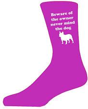 Beware of the French Buldog On Hot Pink Socks,Great Birthday Gift,Novelty Socks.