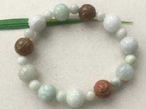 Certified Natural Light green  A Grade 13mm JADE Jadeite Carving Bracelet 1245