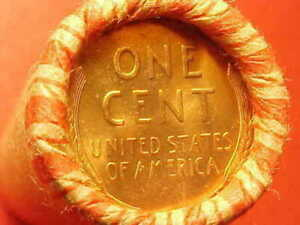 TAILS /TAILS OBW BU+ LINCOLN WHEAT PENNY ROLL YEAR UNKNOWN OLD VINTAGE WRAPPER