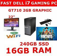 FAST DELL GAMING i7 QUAD CORE COMPUTER PC 16GB RAM TFT 240GB SSD 2GB GT710