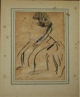 PORTRAIT DE DAME. GRAFFIT ET FUSAIN SUR PAPIER. RAMON CASAS (?). ESPAGNE. XIX.