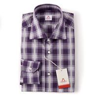 NWT $475 MATTABISCH by KITON Plum Purple Check Cotton Shirt 17.5 Slim-Fit