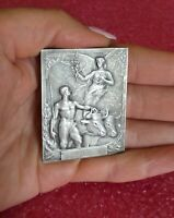 Vintage Blin Art Nouveau silvered bronze medal plaque /Nude Muscular /Angel