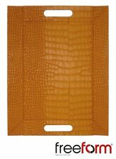 Freeform Reversible Placemat Trays With Handles 45x35cm Faux Leather Orange Croc