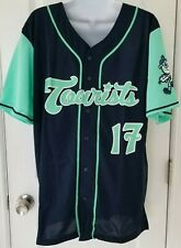MiLB Asheville Tourists Button Front Baseball Jersey Size Large Teal & Navy Blue