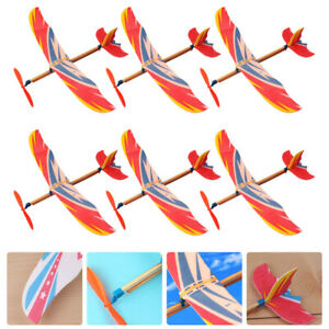 6pcs DIY Airplane Toys Child Kid Rubber Band Powered Plane Playthings