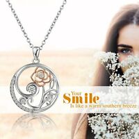 925 Sterling Silver Tree Of Life Rose Petals CZ Pendant Women's Necklace Chain