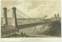 Engraved Victorian Scrap Card Railway Suspension Bridge From Photograph Train