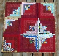 """Red and Confetti Multicolor I-Spy Log Cabin Baby or Doll Quilt 32"""" x 32"""""""