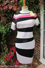 100% Karen Millen aderente ASTRATTO Vestito a righe SZ4 LGE UK16 BNWT DESIGNER