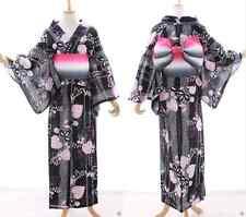 k-009 NERO BIANCO ROSA FOGLIE FIORI ORIGINALE Kimono Giapponese Yukata OBI