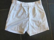 """VINTAGE BRITISH ARMY MILITATRY ROPICAL SHORTS WHITE DRILL  33"""" WAIST ZIP FLY"""