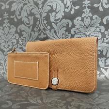 Rise-on HERMES Des Gonds Dogon Brown Togo Leather Bifold Wallet Long Purse #11