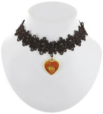 Steampunk Brown Lace Choker Necklace Floral Heart Pendant