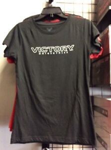 Ladies Victory Motorcycle Dealer Back Shirt Black (Small)