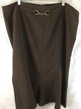 Dress Barn Brown Trumpet Skirt W/ Metal Link Accent Back Zipper Size 22W