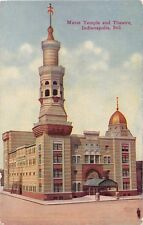 INDIANAPOLIS IN MURAT TEMPLE~OLD NATIONAL~THEATRE~NEW JERSEY ST~POSTCARD 1910s