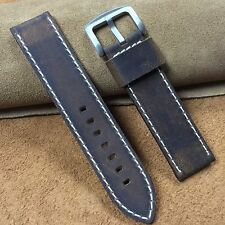 Size18/20/22/24mm Oil Dark Brown Cow Leather Military Watch Strap/Band 048