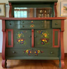 Antique+Hand-painted+White+Oak+Dining+Room+Sideboard+w%2F+Mirrored+Shelf+Floral