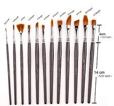 12 PCS Professional Paint Brush Set Nylon Hair Watercolor/Craft/Face Paints