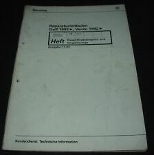 Werkstatthandbuch VW Golf III Typ 1H Diesel Vento Vorglühanlage Einspritzanlage