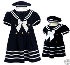 New Baby Girl & Toddler Sailor Nautical Party Dress Outfits  S M L XL - 4T Navy