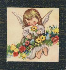 VINTAGE ANGEL GIRL ROSES FEET LITHOGRAPH ART MINIATURE PRINT ON ANTIQUE PAPER