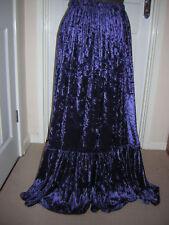 navy dark midnight blue crushed velvet skirt made to order any size & length