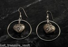LTV Creation Earring Pair Vintage Parts Puffed Heart Center Silver Tone Metal
