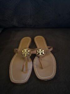 Tory Burch Mini Miller Leather Thong Sandals Brown Vintage Vachetta Sz 10,