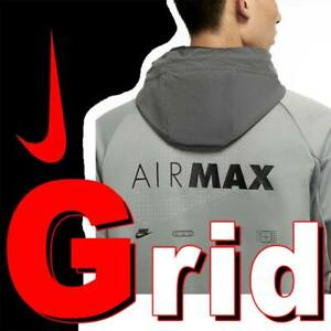 """NIKE NSW AIR MAX """"GRID"""" FULL ZIP HOODIE JACKET WOVEN LIFESTYLE CW5387-073 SMALL"""