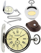 Jean Pierre Hunter Pocket Watch Polished Chrome-Plated Quartz, Free Engraving D7