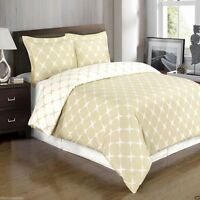 Beige & Ivory Reversible Cotton Duvet Cover AND Pillow Shams - ALL SIZES