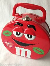 """M&M RED large collector tin lunch box lunchbox hinged handle clasp round 6.5"""""""