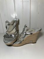 Michael Kors Espadrille Sandals Silver Wedges Women's Size 9 Worm Once Rope Sole