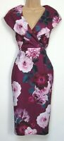 New Quiz Teal Magenta Floral Bodycon Midi Occasion Party dress Size  8 - 16