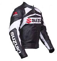 Black Suzuki  Motorcycle Leather Jacket Sports Motorbike Leather Racing Jacket