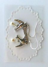 Bird Earrings Made With Swarovski Pearls And Sterling Silver
