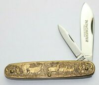 WINCHESTER ENGRAVED BRASS KNIFE - 1992-1 - WINCHESTER MODEL 1895 - NIB