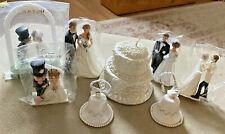 Lot of Wedding CAKE TOPPERS Bride & Groom Bells Japan Wilton Vtg Cake Candle