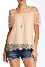NWT $78 Love Stitch Ruffle Boatneck Off The Shoulder Lace Blouse Peach Nude L 12