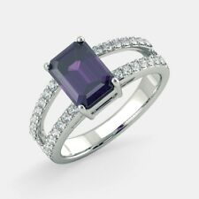 1.3Ct Emerald Cut Amethyst Diamond Engagement Solitaire Ring 14k Solid WhiteGold