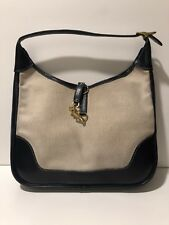 Hermes Navy Leather Trim 31 Canvas Toile Hobo Shoulder Bag