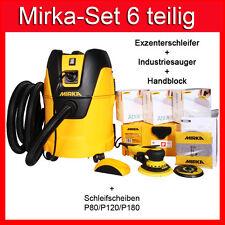 Mirka Deros Elektro Exzenter Set+Mirka Industriesauger+3 Pack Abranet+Handblock